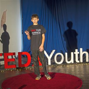 Nadav Gilboa, 13, check the light on the stage Nov. 19, 2017, before the start of TEDxYouth@BlueSlidePark:Create Your World at the Repair the World Workshop in East Liberty.