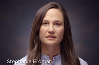 This photo provided by Honda shows Stephanie Erdman in a video targeting Honda owners who have yet to get free repairs under the massive Takata recalls. Erdman, an Air Force officer, nearly lost her right eye when the inflator in her 2002 Civic exploded into pieces in a crash in 2013.