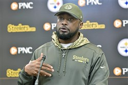 Steelers head coach Mike Tomlin addresses the media Tuesday.