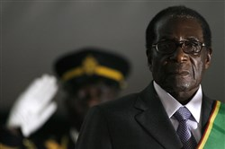 This file photo taken on June 29, 2008 shows Zimbabwean President Robert Mugabe swearing in for a sixth term in office in Harare, after being declared the winner of a one-man election.