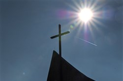 The cross above the Christ the King chapel on the campus of Franciscan University of Steubenville.