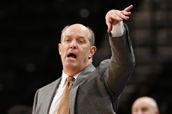Pittsburgh head coach Kevin Stallings gestures during the first half of an NCAA college basketball against Penn State's Nittany Lions in the Legends Classic, Monday, Nov. 20, 2017, in New York. Penn State defeated Pittsburgh 85-54.