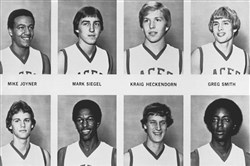 The University of Evansville, Indiana basketball team shown September 1977. An airplane crash in December 1977 killed 14 members.
