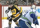 Pittsburgh Penguins' Jake Guentzel beat Canucks goalie Anders Nilsson in the first period Wednesday, November 22, 2017, at PPG Paints Arena in Pittsburgh.