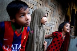 Rohingya children forced to flee from Myanmar remain stranded at a refugee camp in Bangladesh.