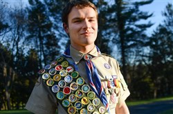 Eagle Scout Zachary Rotzal, 17, earned all 139 merit badges, a rare feat accomplished by so few that the provided sash does not hold them all and Rotzal had to sew an extension onto it accommodate them all. Rotzal is a senior at LaSalle College High School.