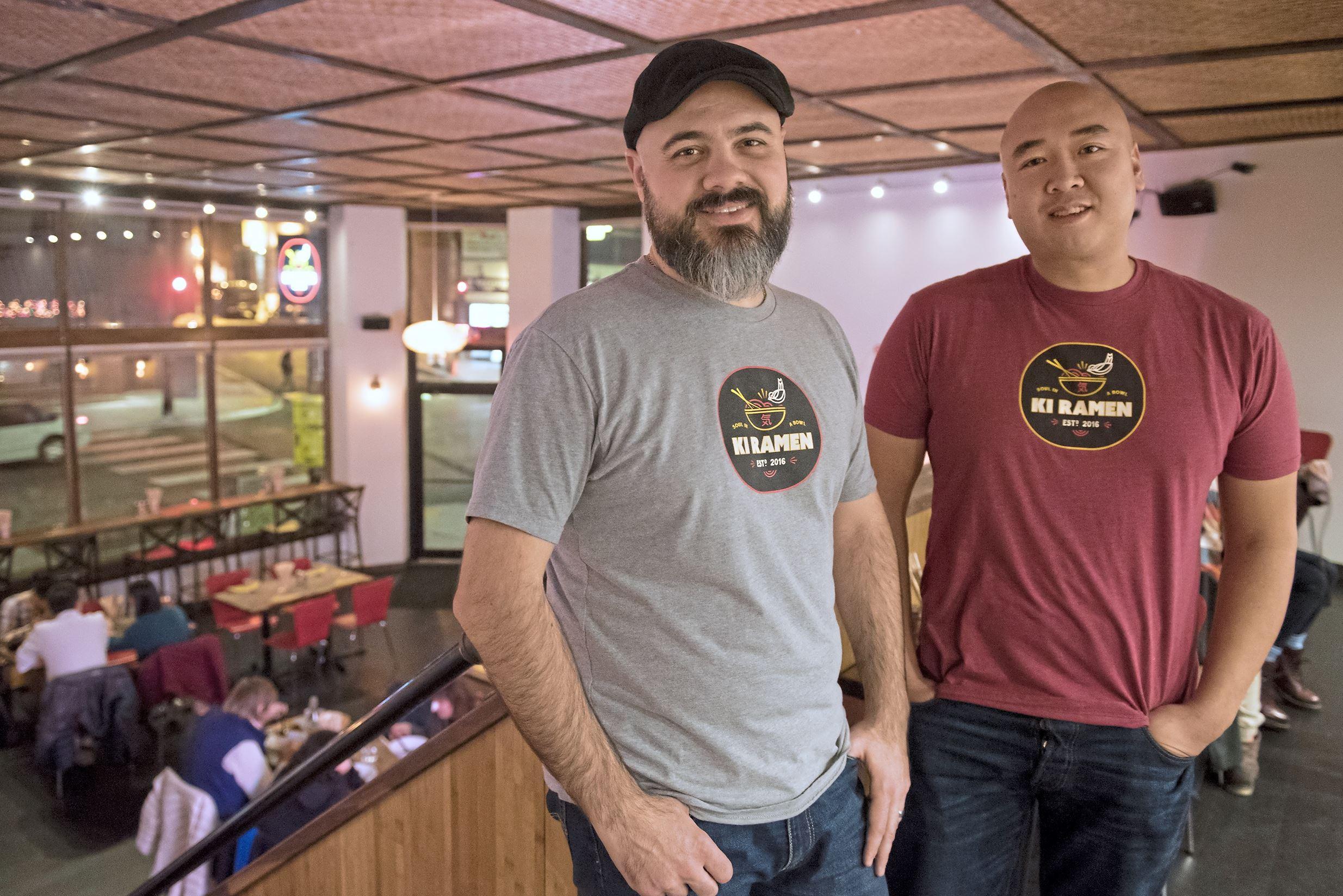 20171122hnKiRamen-2-1 Restaurant owners, Dom Branduzzi, left, and Roger Li, at Ki Ramen.