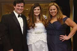 Patrick Riley with daughter Hanna and wife Kelly during the 54th Medallion Ball at the Wyndham Grand Pittsburgh hotel.