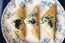 "Sephardic Cheese and Parsley Pastries from ""Hazana"" by Paola Gavin."