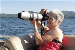 Patricia Jacobs, an avid photographer, at Lake Jocassee, SC, in 2016.