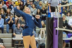 Knoch's Sarah Armahizer had 21 kills and 14 blocks in the PIAA championship against Allentown Central Catholic.