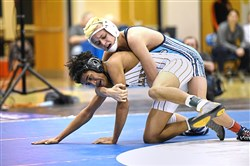 Trent Valovchik, top, is a returning starter at Burrell after winning a WPIAL title at 106 pounds as a freshman last year.