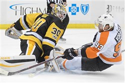 The Penguins' Matt Murray makes a save on Jakub Voracek in a game Nov. 27, 2017, at PPG Paints Arena in Pittsburgh.