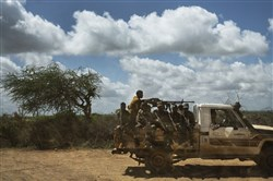 In this May 2017 file photo, Somali special operations soldiers ride in a truck during a demonstration of fighting tactics about 10 miles from the front lines on the outskirts of Baidoa, Somalia.