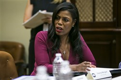 Former White House aide Omarosa Manigault Newman during a Health and Human Services listening session on the Affordable Care Act in the Roosevelt Room of the White House in June.