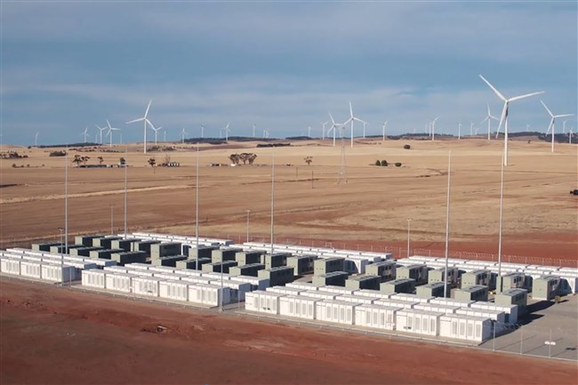 This screen grab from an undated handout video from a drone received by AFP on December 1, 2017, from French energy firm Neoen shows the Tesla 100 MW/129 MWh Powerpack system by billionaire entrepreneur Elon Musk in the rural town of Jamestown, 200 km north of Adelaide.