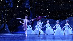 "Pittsburgh Ballet Theatre dancers end the first act of ""The Nutcracker"" with a snow scene. The annual holiday ballet runs through Dec. 27 at Benedum Center, Downtown."