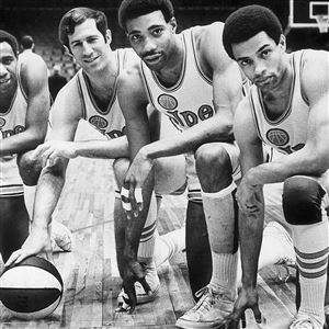 The Pittsburgh Pipers (from left): Chico Vaugh, Art Heyman, Connie Hawkins, Charley Williams.