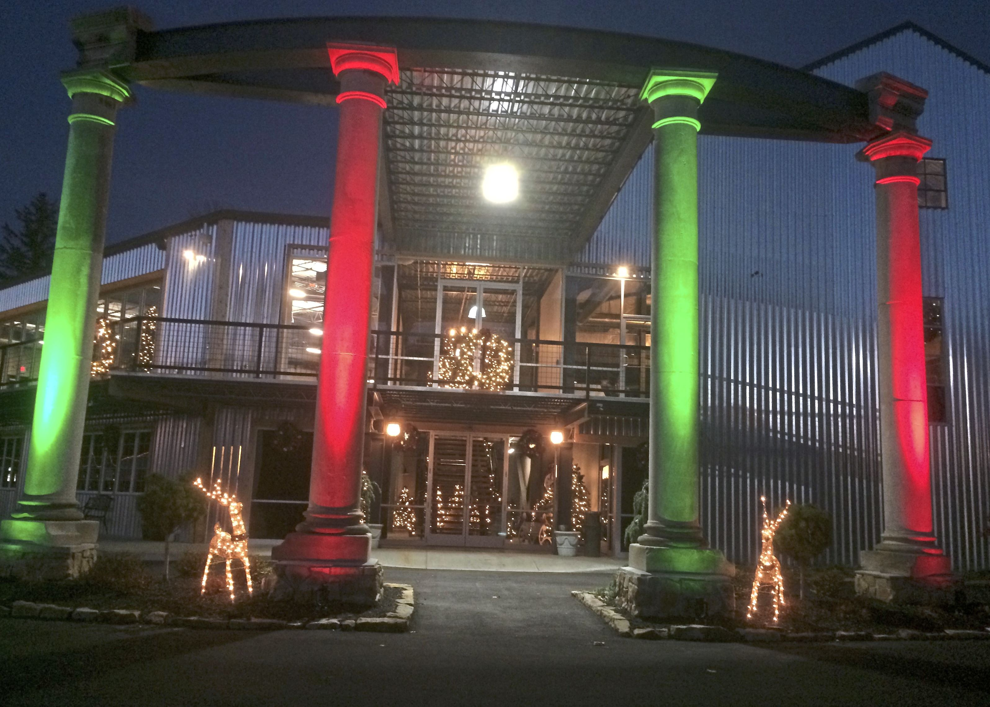 CR Brewing Co._7768 The new entrance to CR Brewing Co. in Neshannock features stone columns, now lit for the holidays, from the former Elks lodge in nearby New Castle.