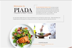 A screenshot of the website for Piada Italian Street Food.