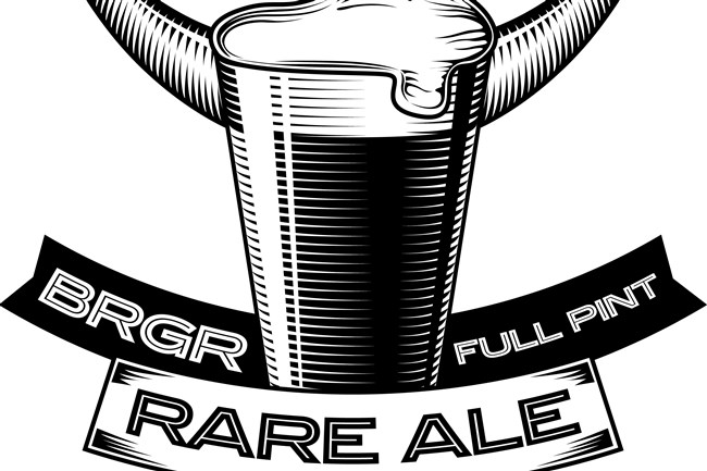 The logo for Rare Ale, which is made exclusively for area BRGR outlets by Full Pint Brewing Co.