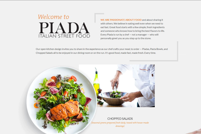 Piada Italian Street Food A screenshot of the website for Piada Italian Street Food.