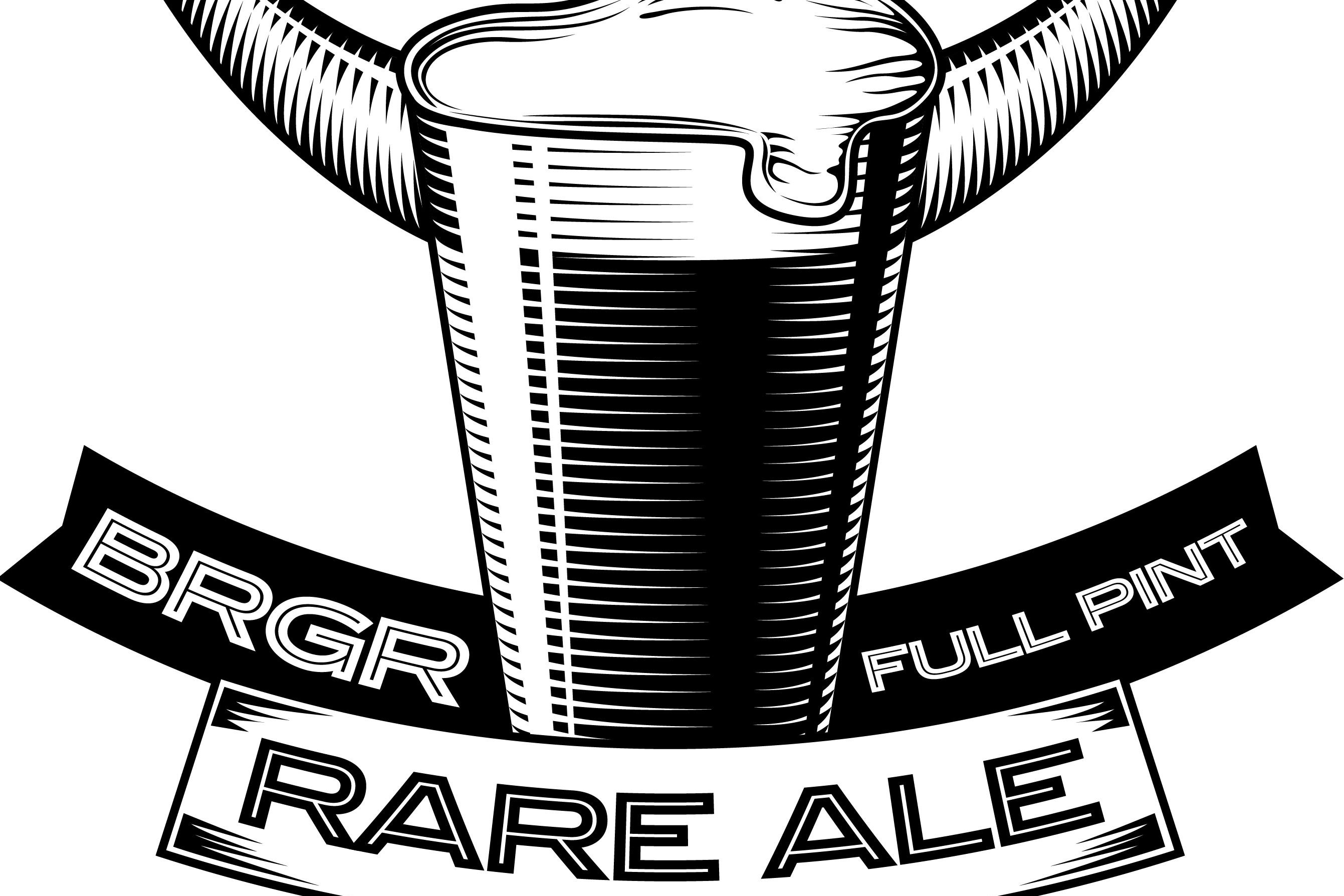 BRGR_RARE_ALE_woodcut_logo-1 The logo for Rare Ale, which is made exclusively for area BRGR outlets by Full Pint Brewing Co.