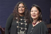 Honorees included emerging visual artist Sarika Goulatia, left, and established artist and costume designer Susan Tsu.