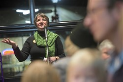 Michelle Boyle of Highland Park announces her plan to challenge Republican Randy Vulakovich for the 38th state Senate district seat during a gathering of supporters Wednesday, Dec. 6, 2017, in Millvale. Boyle, a nurse, is one of three Democratics vying for nomination.