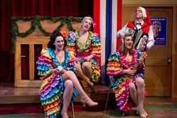 "The new musical ""The Carols,"" with, from left, Moria Quigley, Mandie Russak, Kathlene Toole and Nick Stamatakis, is at Carnegie Stage through Dec. 17."