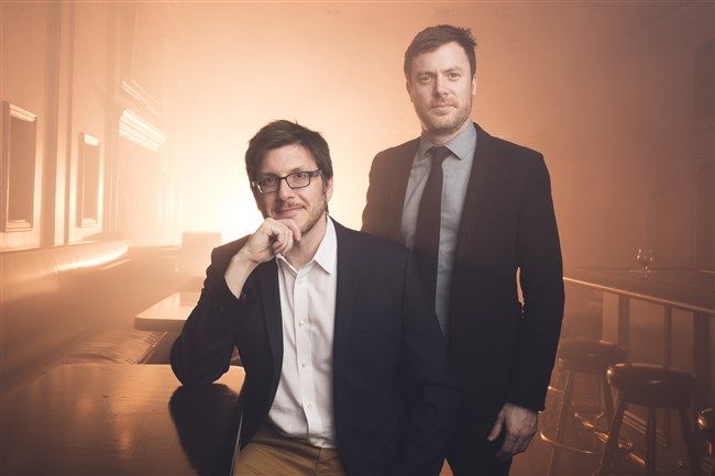 "Rico Gagliano, left, and Brendan Francis Newnam, authors of ""Brunch Is Hell: How to Save the World By Throwing a Dinner Party,"" and co-hosts of The Dinner Party Download."