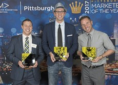 Hall of Fame inductees, Kennywood and Pittsburgh Dad: From left, Nick Paradise (Kennywood) with Chris Preksta and Curt Wootton (Pittsburgh Dad).