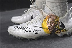 A few Steelers wore Ryan Shazier-themed cleats during warm-ups Sunday at Heinz Field.
