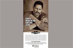 This is actor Joe Manganiello, originally from Mt. Lebanon, participating in the Play It Forward Pittsburgh campaign, which is encouraging people to sign up to become organ donors.