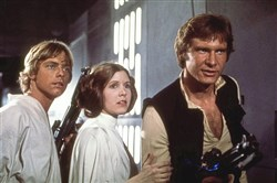 "Mark Hamill, Carrie Fisher, and Harrison Ford starred in the 1977 film ""Star Wars."" The movie established director George Lucas' genius for applying special effects to adventure."