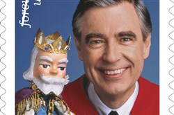 "A preliminary mockup of the United States Postal Service's stamp commemorating the 50th anniversary of ""Mister Rogers' Neighborhood."""