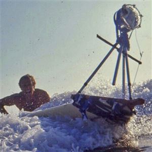 In this January, 1963, filmmaker Bruce Brown tries to control a surfboard with a mounted camera mounted while making one of his many surfing movies.