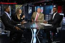 Charles Woodson, Sam Ponder, Rex Ryan and Randy Moss on the set of Sunday NFL Countdown