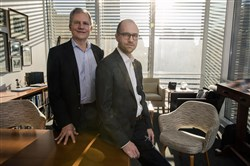 Arthur Sulzberger Jr., the current publisher of The New York Times, and his son, Arthur Gregg Sulzberger, at The New York Times building in New York on Dec. 13, 2017. The younger Sulzberger, who is known as A.G., will become the publisher on Jan. 1, 2018.