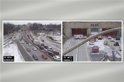 Images captured from PennDOT's surveillance cameras show traffic building up on the Parkway East after emergency crews shut down the outbound lanes of the Squirrel Hill. The image at right shows an ambulance at the exit to the tunnel. The lanes were reopened around 3 p.m.