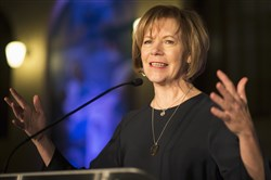 In this Jan. 10, 2015 file photo, Minnesota Democratic Lt. Gov. Tina Smith speaks to attendees at the North Star Ball in St. Paul, Minn.