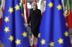 British Prime Minister Theresa May arrives for an EU summit at the Europa building in Brussels on Dec. 14, 2017.