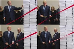 This combination of pictures created December 14, 2017, shows President Donald Trump cutting a red tape tied between two stacks of papers representing the government regulations of the 1960s and the regulations of today (R) after he spoke about his administration's efforts in deregulation in the Roosevelt Room of the White House in Washington on December 14, 2017.
