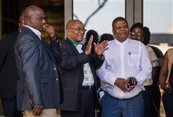 South African President and ANC president Jacob Zuma (C) gestures prior to a meeting ahead of the 54th National Conference of South Africa's leading party African National Congress (ANC) at Nasrec Expo Centre in Johannesburg on December 14, 2017.