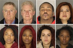 Top row, from left: James Guttman, Dale McCorkel, Brandon Nixon, Gia Nguyen. Bottom row, from left: Shantaria Hillard, Brentniesha Pyant, Tianna Smart, Cashay Lee. These eight were arrested during a two-day undercover human trafficking and prostitution sting this week. Three women were charged with prostitution, three men with solicitation, two women with promoting prostitution. This array does not include a ninth arrest -- a man charged with transporting someone for the purpose of engaging in prostitution, according to court records.
