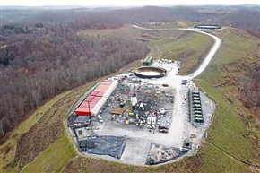 In a December 2017 photo, an EQT well pad that was slated, upon completion, to have 21 gas wells in Amwell Township.