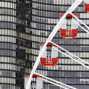 The cars of the Ferris Wheel are seen at Chicago's nearly century-old Navy Pier.