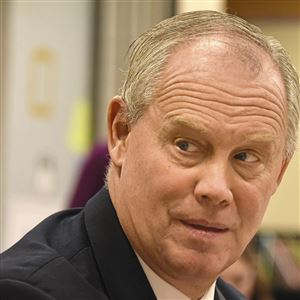 Pennsylvania's Speaker of the House Mike Turzai addresses the audience in the library at the Hillel Academy, Wednesday morning December 20, 2017 in Squirrel Hill.
