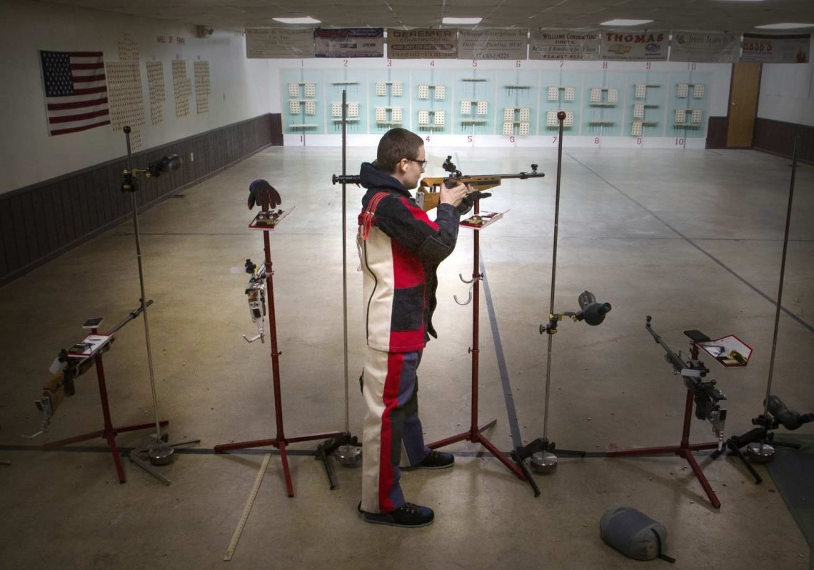 deegan ramsey holds his rifle after shooting practice at the everett sportsman s club in everett