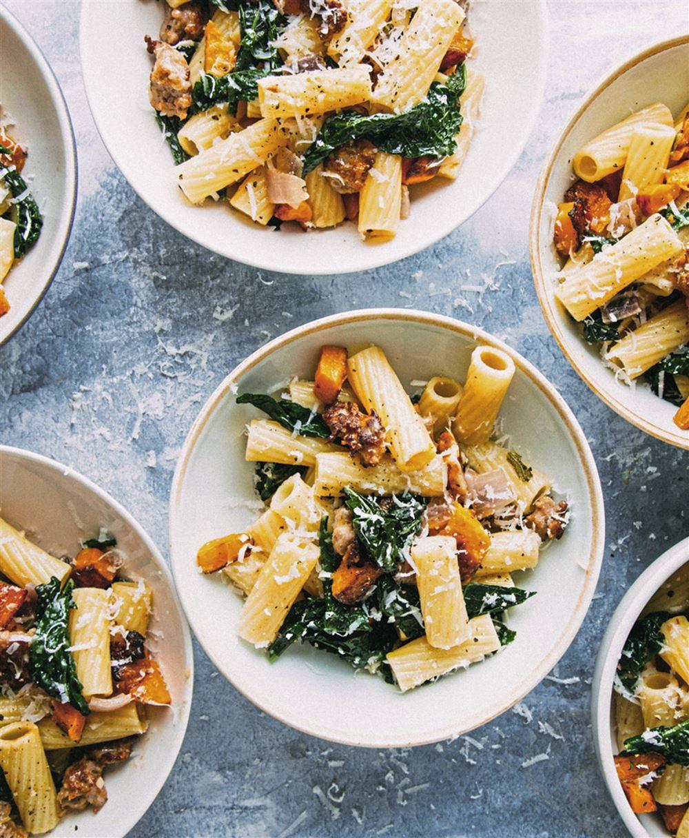 Rigatoni With Squash, Sausage and Kale